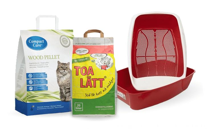 Papperspellets och träpellets som används i kattlådan PeeWee